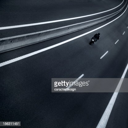 Motorbike in a highway : Stock Photo