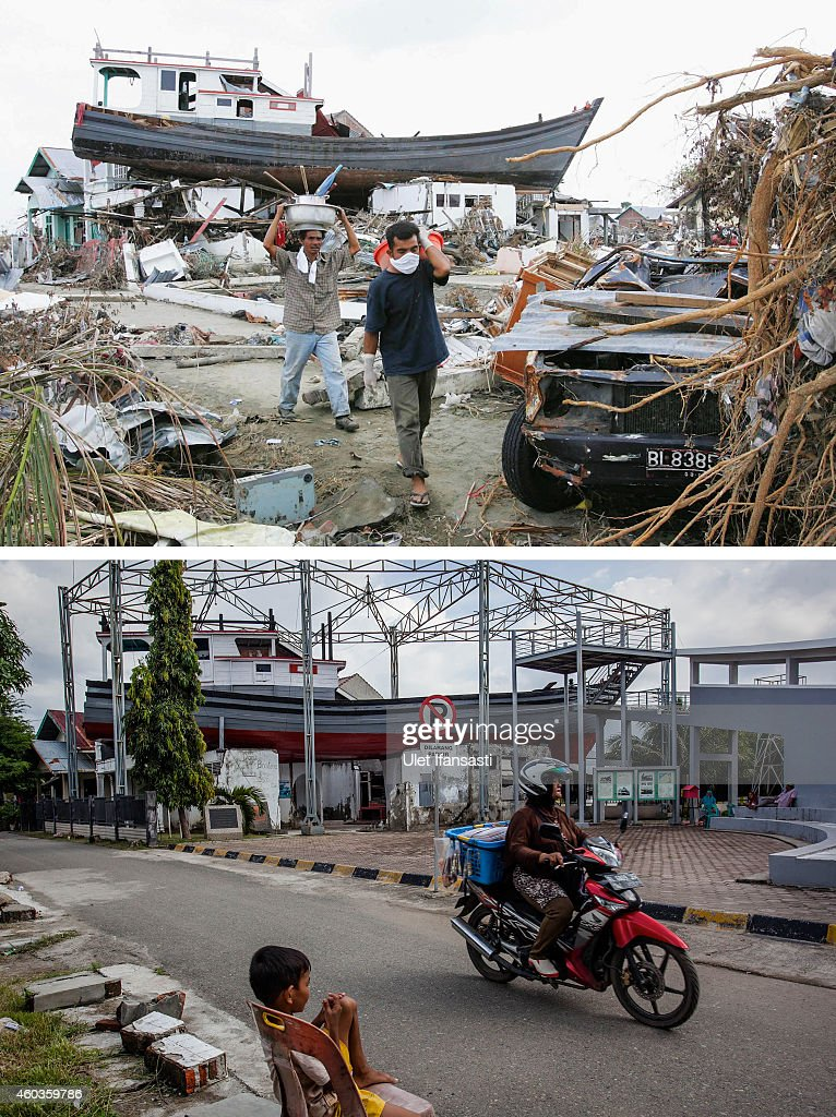 In this composite image a comparison has been made between a scene in 2004 and 2014 People displaced by the tsunamis walk amid their ruined...