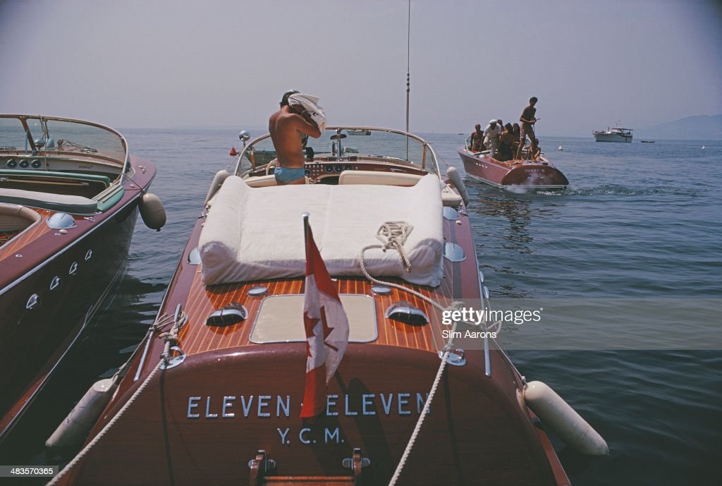 Motorboats moored on the coast near the Hotel du CapEdenRoc in Antibes on the French Riviera August 1969