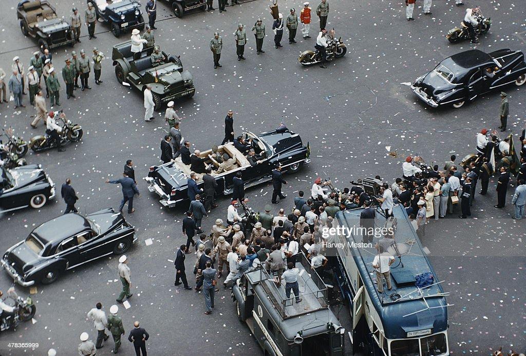 A motorcade in Rio de Janeiro Brazil during a visit by US President Dwight D Eisenhower 1960
