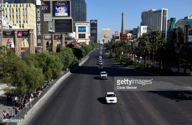 A motorcade on the Las Vegas Strip escorts the body of Las Vegas Metropolitan Police Department Officer Charleston Hartfield to his funeral on...