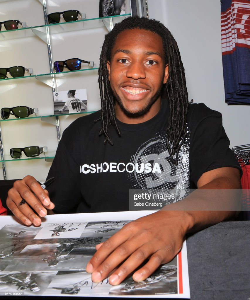 Motorcross rider Malcolm Stewart signs autographs during a DC Moto Team appearance in celebration of the 2013 AMA Supercross Finals at the DC Shoes store at Planet Hollywood Resort & Casino on May 2, 2013 in Las Vegas, Nevada.