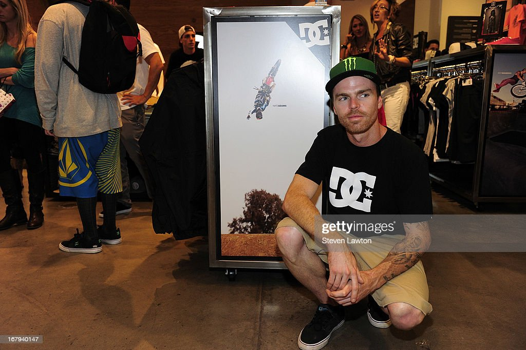 Motorcross rider <a gi-track='captionPersonalityLinkClicked' href=/galleries/search?phrase=Nate+Adams&family=editorial&specificpeople=235455 ng-click='$event.stopPropagation()'>Nate Adams</a> poses before he signs autographs during a DC Moto Team appearance in celebration of the 2013 AMA Supercross Finals at the DC Shoes store at Planet Hollywood Resort & Casino on May 2, 2013 in Las Vegas, Nevada.