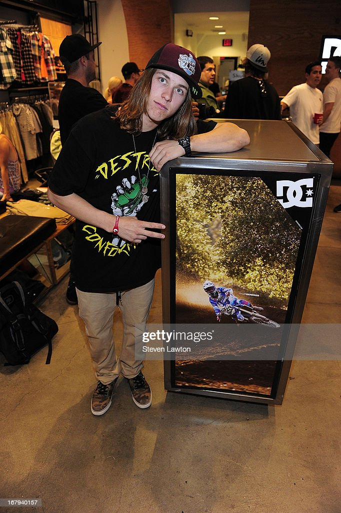Motorcross rider Tyler Bereman poses before he signs autographs during a DC Moto Team appearance in celebration of the 2013 AMA Supercross Finals at the DC Shoes store at Planet Hollywood Resort & Casino on May 2, 2013 in Las Vegas, Nevada.
