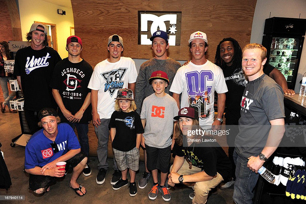 Motorcross riders (front L-R) Drew Hopkins, Ryder DiFrancesceo, Carson Mumford, Tyler Bereman, Trey Canard, (back L-R) Dalton Bailey, Chris Plouffe, Mitch Alcorn, Kyle Regal, Robbie Maddison and Malcolm Stewart pose before they sign autographs during a DC Moto Team appearance in celebration of the 2013 AMA Supercross Finals at the DC Shoes store at Planet Hollywood Resort & Casino on May 2, 2013 in Las Vegas, Nevada.
