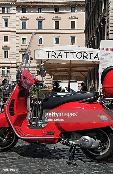 Motorcycle, and Italian restaurant, Rome, Italy