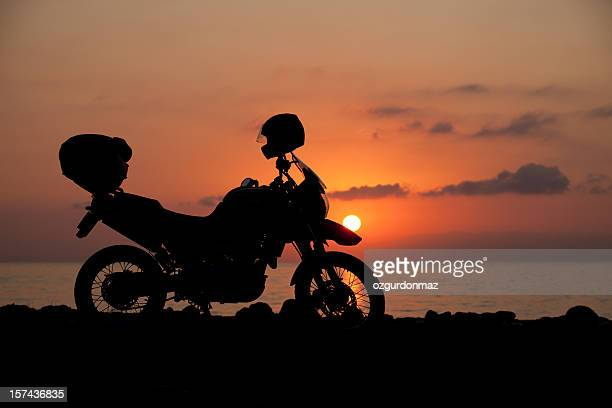 Motorcycle at sunrise