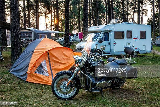 Motorcycle at the campsite