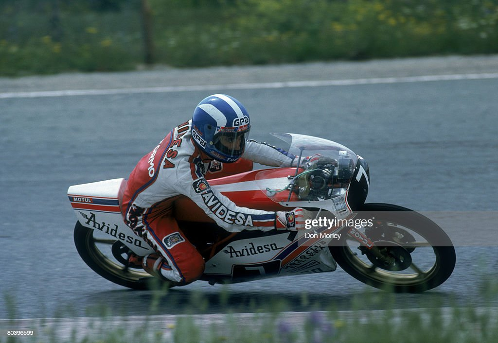 Motorcycle champion Ricardo Tormo takes part in the Spanish Grand Prix May 1980