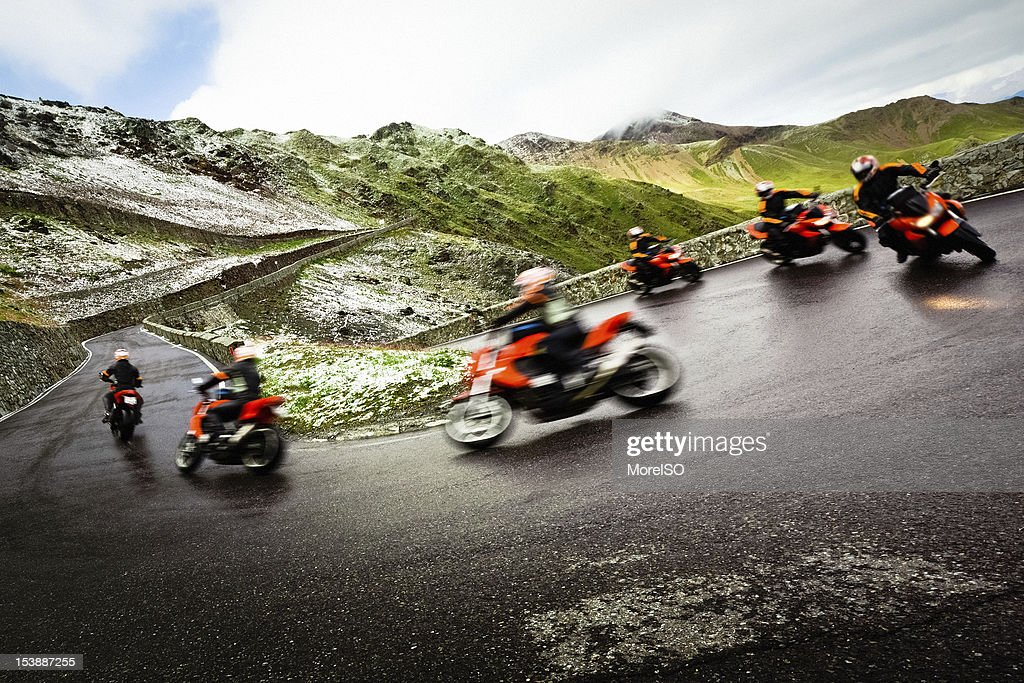 Motorcycle Driving on a Mountain Road, Sequence Shot : Stock Photo