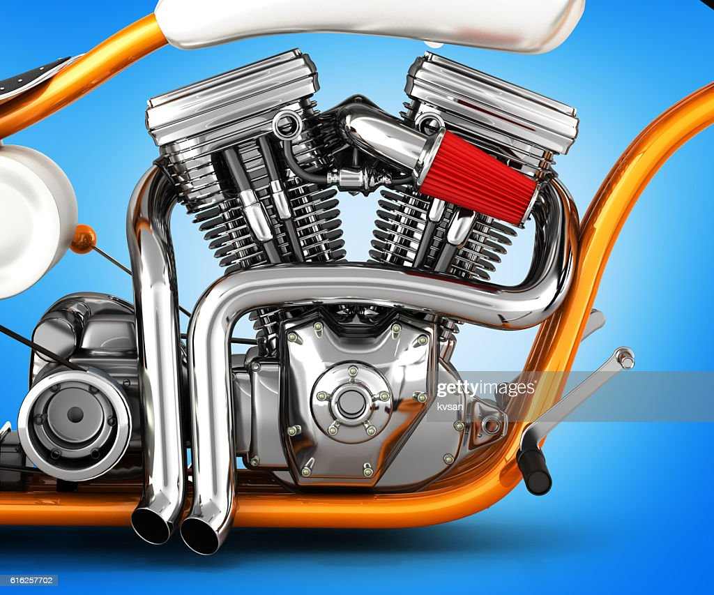 Motorcycle engine v twin isolated on gradient background 3d illu : Stock Photo