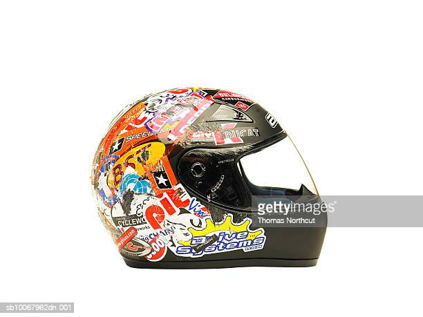 Motorcycle helmet on white background