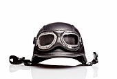 US ARMY motorcycle helmet with clear goggles, isolated on white