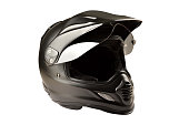 Black motorcycle helmet isolated on white background with clipping path