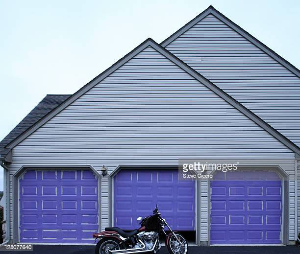 Motorcycle in driveway