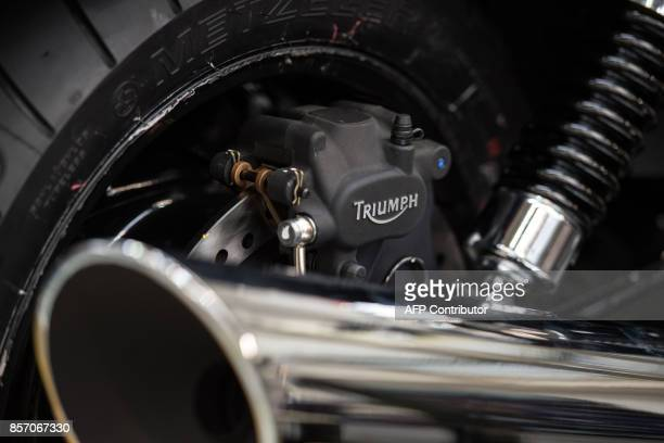 A motorcycle is assembled at the Triumph Motorcycles factory in Hinckley central England on October 2 2017 Triumph which was originally formed as a...