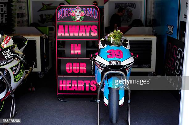 Motorcycle of Spanish rider Luis Salom during the Moto2 race at GP Monster Energy of Catalonia June 5 2016 in Barcelona Spain