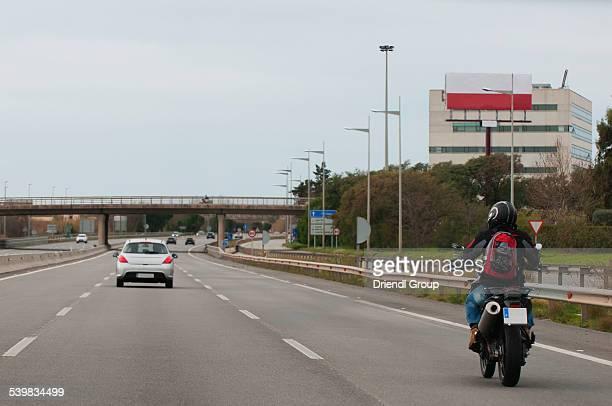 Motorcycle on the C-31 outside Barcelona.