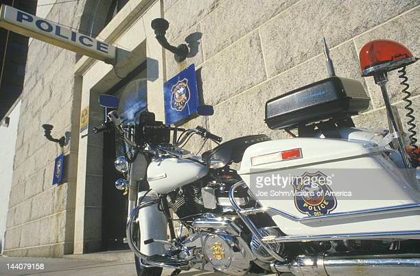 Motorcycle parked at Wilmington Delaware police station