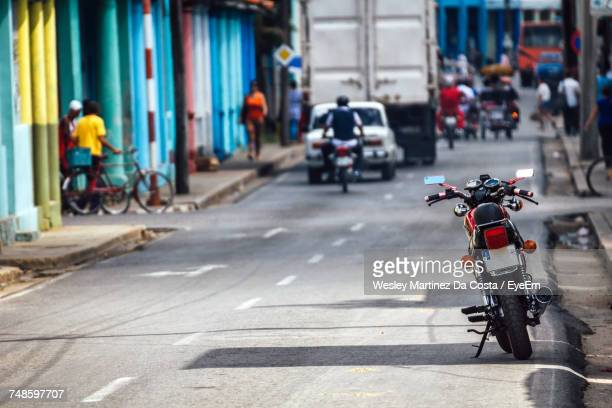 Motorcycle Parked On Street