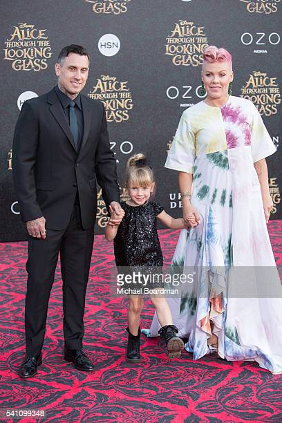 Motorcycle Racer Carey Hart daughter Willow Sage Hart and Recording Artist Pink aka Alecia Moore attends the premiere of Disney's 'Alice Through The...