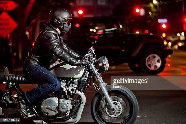 Motorcycle Rider at Night
