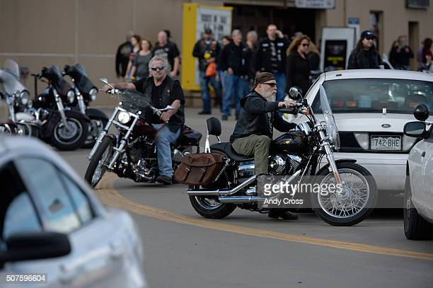 Motorcycle riders leave the National Western Stock Show Complex January 30 2016 Denver Police reported a shooting and stabbing at the complex during...