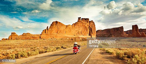 Motorcycle Road Trip Exploring American Southwest in Arches National Park