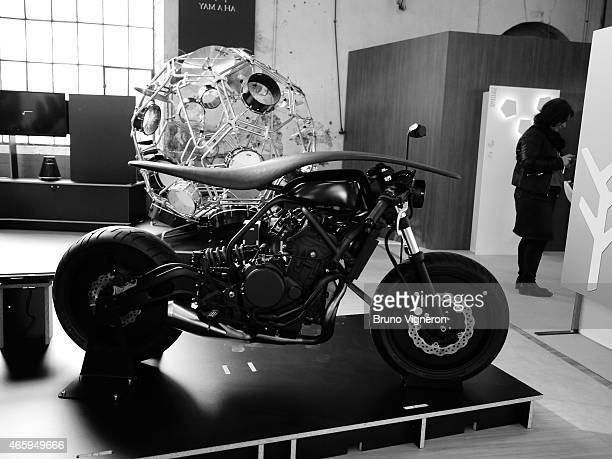 Motorcycle 'Root' designed by Kazuki Kashiwase of the design laboratory of Yamaha Corporation is displayed during the Biennale Internationale Design...