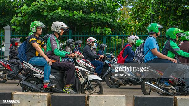 Motorcycle taxi service GrabBike in Jakarta