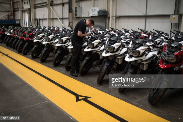 Motorcycles are put through a test at the Triumph Motorcycles factory in Hinckley central England on October 2 2017 Triumph which was originally...