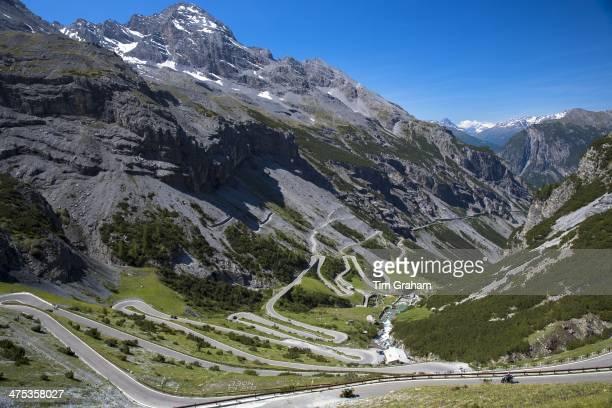 Motorcycles on The Stelvio Pass Passo dello Stelvio Stilfser Joch on route Bormio to Trafoi in the Alps Northern Italy