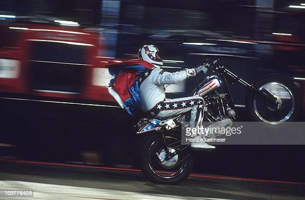 Daredevil Evel Knievel in action San Francisco CA 1/1/1974 CREDIT Heinz Kluetmeier