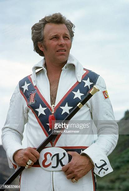 Portrait of daredevil Evel Knievel during photo shoot while preparing for jump over Snake River Canyon Twin Falls ID CREDIT Heinz Kluetmeier