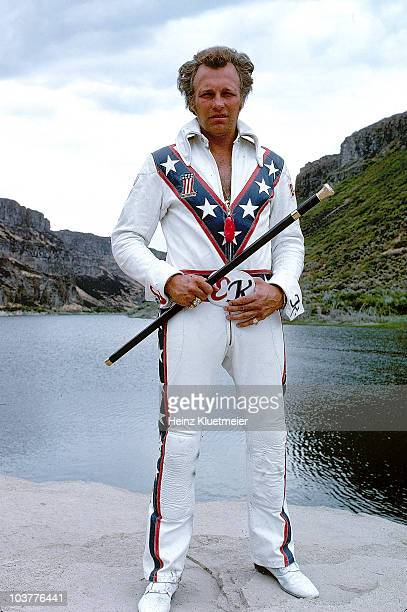 Portrait of daredevil Evel Knievel preparing for jump over Snake River Canyon Parachute opened too soon and stunt failed Twin Falls ID 8/20/1974...