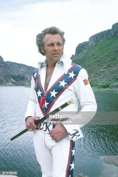 Motorcycling Portrait of daredevil Evel Knievel preparing for Snake River jump Cover Snake River Canyon ID 8/20/1974