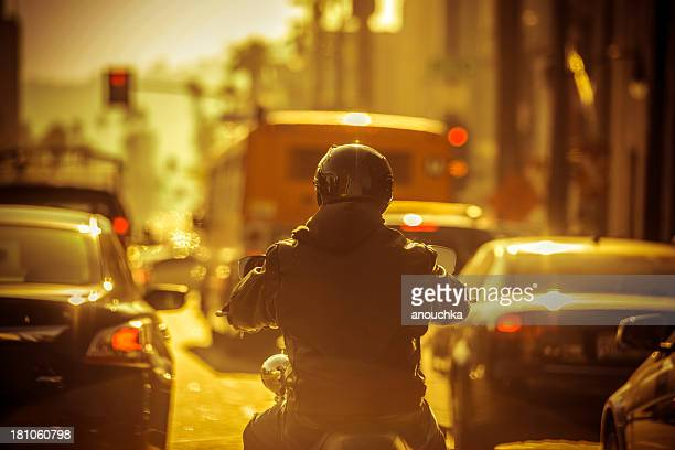 Motorcyclist in Traffic jam