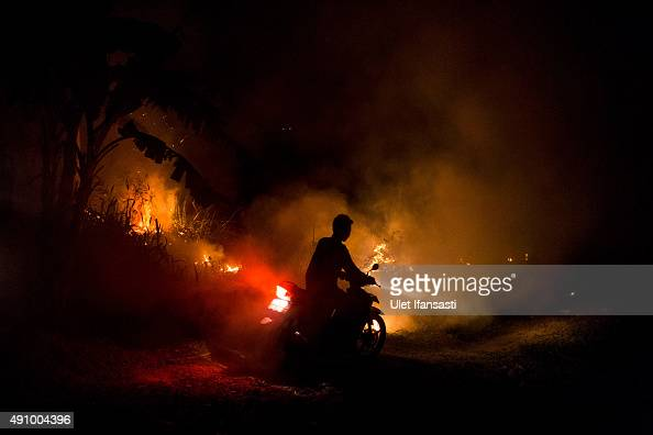 A motorcyclist makes his through the haze on the way to his house as a fire burned peatland and fields at Ogan Ilir district on October 2 2015 in...