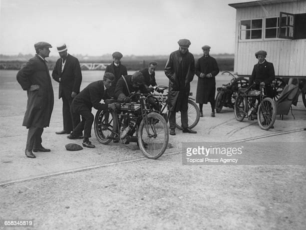 Motorcyclist Mr Elce preparing to attempt records for one to four hours on a Rudge at Brooklands race track Surrey 10th September 1912