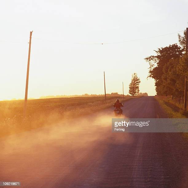 Motorcyclist on a country road