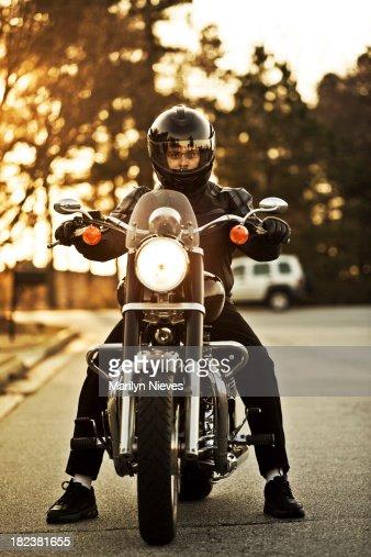 motorcyclist on his cruiser