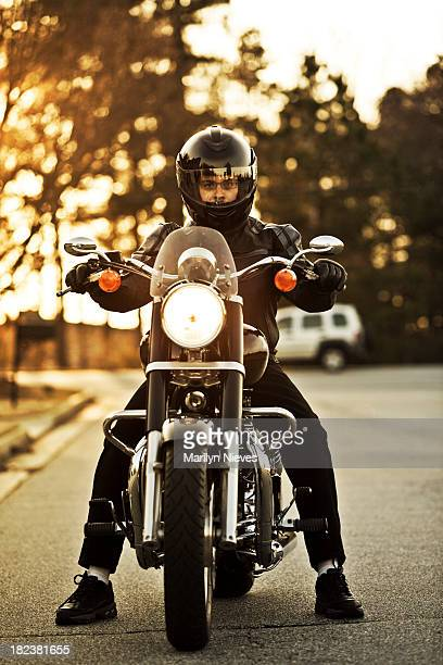 motorcyclist on his cruiser