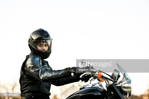 motorcyclist profile on his cuiser