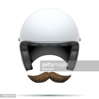 Motorcyclist symbol with mustache : Stock Photo