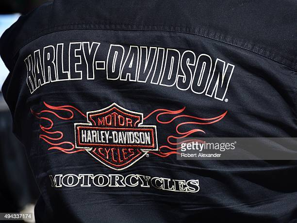 A motorcyclist wears a HarleyDavidson brand shirt in Santa Fe New Mexico