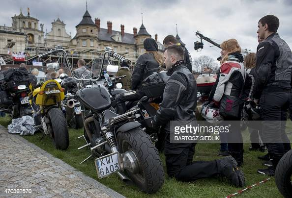 Motorcyclists attend a mass during the annual Polish motorcyclists pilgrimage to the Jasna Gora monastery the country's greatest place of pilgrimage...