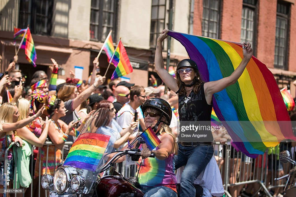 Motorcyclists ride along Christopher Street during the New York City Pride March, June 26, 2016 in New York City. This year was the 46th Pride march in New York City.