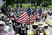 Motorcyclists ride their bikes during the annual Rolling Thunder 'Ride for Freedom' parade ahead of Memorial Day in Washington DC on May 29 2016 /...
