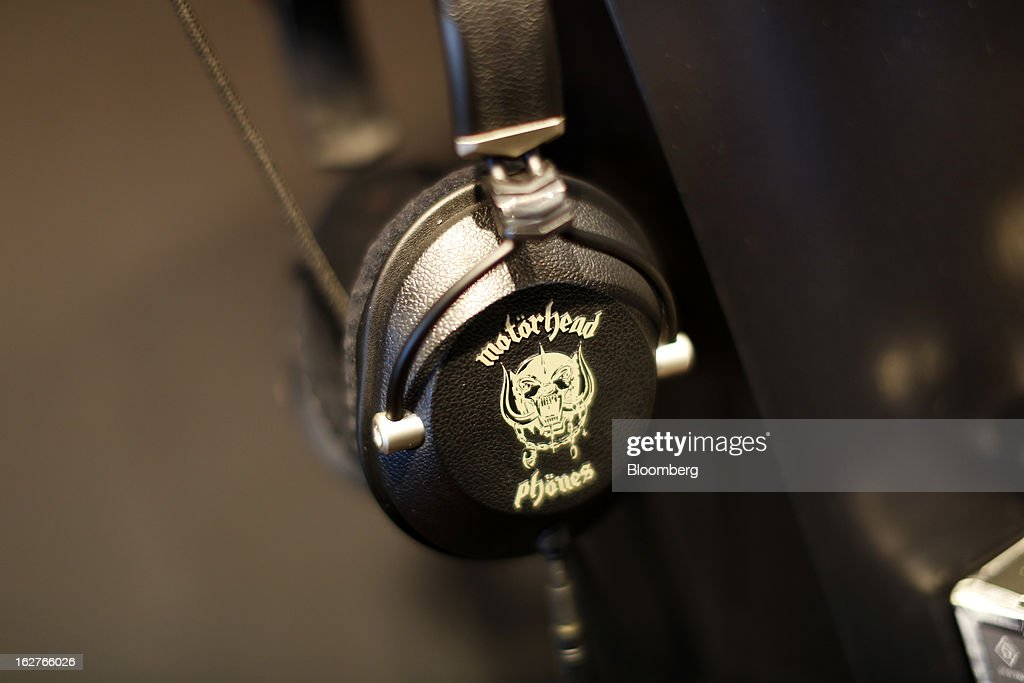 Motorhead-branded Motorizer headphones sit on display at the Mobile World Congress in Barcelona, Spain, on Tuesday, Feb. 26, 2013. The Mobile World Congress, where 1,500 exhibitors converge to discuss the future of wireless communication, is a global showcase for the mobile technology industry and runs from Feb. 25 through Feb. 28. Photographer: Simon Dawson/Bloomberg via Getty Images