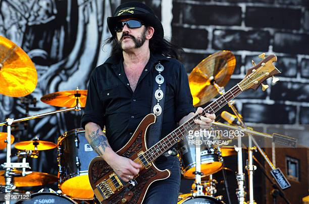 Motorhead's british singer Lemmy Kilmister performs on the stage of the 'Vieilles charrues' music festivl on July 17 2008 at CarhaixPlouguer western...